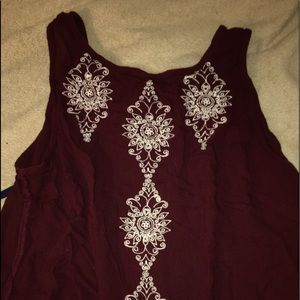 maroon embroidered backless tank